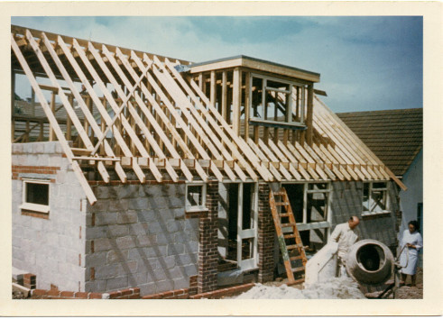 Picture 3: The new bungalow under construction.