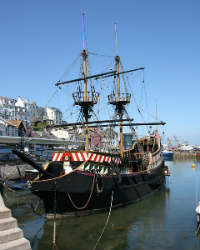 The Golden Hind is in Brixham harbour